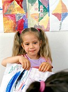 Girl in nursery school drowing, kindergarten, MR9025