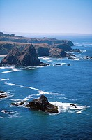 Seastacks and rocky coastline, California, USA