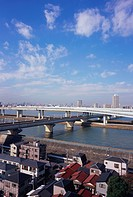 Elevated road over river, Tokyo, Japan