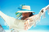 Maldives, Ari Atoll, White Sands Island, woman on beach