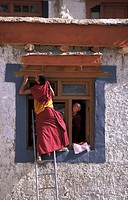 India, Jammu and Kashmir, Ladakh, novice monks at Lamayuru Monastery
