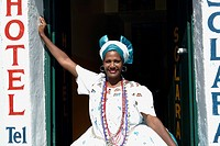 Brazil, Bahia, Salvador de Bahia, Pelourinho historical district. Bahia woman with typical Bahia costume