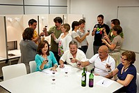 Consumers tasting wine tutored by a sensory analysis specialist, AZTI-Tecnalia Marine and Food Research Center, Derio, Bizkaia, Euskadi, Spain