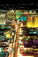 USA, Nevada, Las Vegas. streaming lights of Las Vegas Boulevard The Strip at dusk