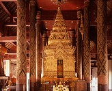 Interior of wat Phra That Lampang Luang, Lampang, with a typical northern Ku housing the main Buddha image, Lampang,Thailand.