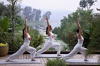 Yoga in group at the Brilliant Resort and Spa in Kunming, Yunnan Province, China