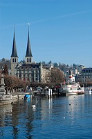 Switzerland, Lucerne, Kappelbrucke Chapel bridge and St. Leodegar Monastery