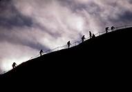 Australia, Northern Territory, Uluru_Kata Tjuta National Park , Uluru Ayers Rock tourists climbing to the top