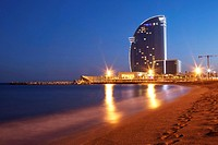 W Barcelona hotel (also known as Vela Hotel) by architect Ricard Bofill, Barceloneta neighborhood, Barcelona, Catalonia, Spain