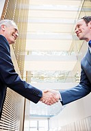Smiling businessmen shaking hands in lobby