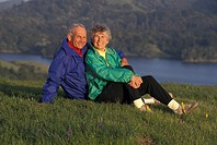 USA, California, Marin County, Mature couple in country
