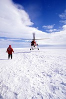Antarctica, Qeen Maud Land, helicopter landing at Antarctic ice shelf