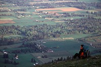 A man hiking above Parkdale, oregon.