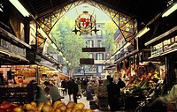 Spain, Barcelona. La Boqueria market on The Ramblas