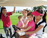 golf course mothers and daughters in buggy talking father