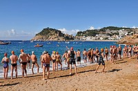 Tossa de Mar Swimming Bay Crossing, Costa Brava, Girona province, Catalonia, Spain June 2010