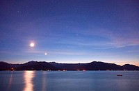 USA, Washington, Seabeck, Hood Canal, Olympic Mountains, Mount Jupiter, Mount Constance the Moon the planet Venus