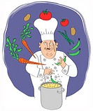 Chef juggling vegetables, pot with food in the foreground
