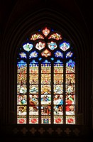 France, Brittany, Finistere, Cornouaille, Quimper, stained glass window of Saint-Corentin Cathedral