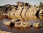 Rocks in a lake, Sylvan Lake, Custer State Park, South Dakota, USA