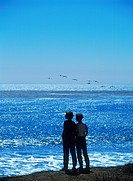 Mother and son above blue ocean and below passing seagulls