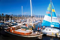 Private yachts moored in Santa Barbara harbor on California coast