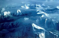 Aerial view of glaciers and mountain ranges near Anchorage, Alaska