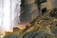 Hikers on the Mist Trail below Vernal Fall, Yosemite Valley, Yosemite National Park, California Hikers on the Mist Trail below Vernal Fall, Yosemite V...