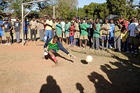 Zimbabwe, Mashonaland Central, Howard Institute. May 2010. Africa Day sports events at a boarding school. Goalie made the save this time. Africa Day i...