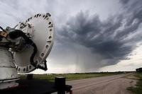 A mobile Doppler Radar truck scans a storm near Pickstown, South Dakota, June 3, 2010