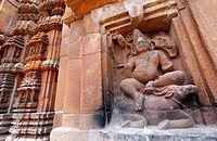 India - Orissa - Bhubaneswar - sculptural detail at the Hindu temple of Brahmeswar Mandir