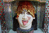 India - Punjab - Amritsar - sculture of a Hindu deity inside the Mata Lal Devi temple