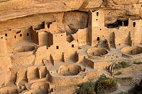 Evening light on detail of Cliff Palace Ruin, Mesa Verde National Park World Heritage Site, Colorado