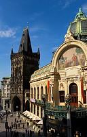 The Municipal house and the Powder tower Prague  Czech Republic
