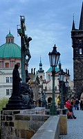 Crucifixion on Charles Bridge Prague  Czech Republic