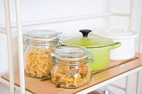 Pastas in glass jars