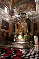 Slovenia, Ljubljana, the Ornate interior of The Franciscan Church
