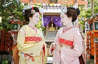 Portrait of two Geisha women