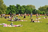 England, London, Hyde Park. Crowds of people relaxing in Hyde Park on a sunny summers day.