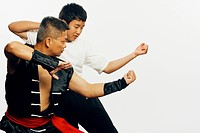 Male instructor teaching martial arts to his pupil