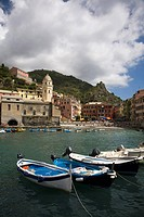 Italy, Liguria, Cinque Terre, Vernazza Village, Boats.