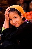 MOROCCO, TOWN OF TAROUDANT, MEDINA OLD TOWN, PORTRAIT OF MUSLIM TEENAGE GIRL