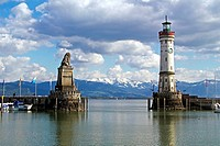 Lindau harbour with lighthouse, Lake Constance Bodensee, Bavaria, Germany