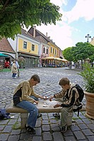 Europe, Hungary, Szentendre town, square, children playing cards