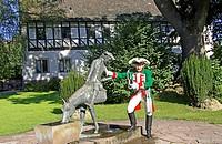 Germany, Munchhausen, Bodenwerder, baron Munchausen sculpture