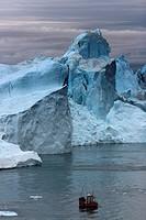 Greenland, Ilulissat, Icejord Unesco Heritage, Fishing boat