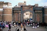 YEMEN, SANA´A, OLD TOWN, BAB AL_YEMEN SOUTHERN GATE