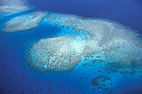 Fiji, Wakaya island, the reef, aerial view