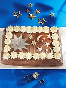Chocolate cake decorated with moon and stars