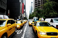 Cabs on West 53rd Street. Midtown Manhattan, New York, New York. USA